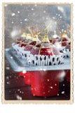 Bolas Toy Baking Sheet Preparation do Natal Fotos de Stock
