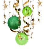 Bolas verdes de la Navidad Imagen de archivo