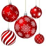 Bolas vermelhas do Natal com testes padrões diferentes Imagens de Stock