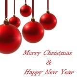 Bolas vermelhas do Natal isoladas no ano novo do fundo branco Imagem de Stock Royalty Free