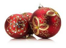 Bolas vermelhas do Natal isoladas no fundo branco Fotografia de Stock Royalty Free