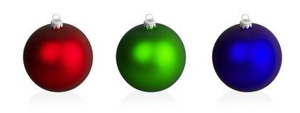 Bolas vermelhas, verdes e azuis grandes do Natal Fotos de Stock Royalty Free