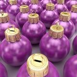 Bolas violetas de la Navidad Foto de archivo libre de regalías