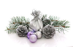 Bolas y abeto de la Navidad Foto de archivo libre de regalías
