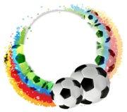 Bolas y arco iris de fútbol Fotos de archivo