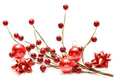 Bolas y arqueamientos rojos de la Navidad Fotos de archivo libres de regalías