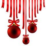 Bolas y cinta rojas de la Navidad Imagen de archivo libre de regalías