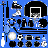 Bolas y equipo de los deportes en vector Fotografía de archivo