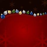Bolas y estrellas de la Navidad del fondo Foto de archivo libre de regalías