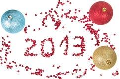 Bolas y número 2013 de la Navidad Fotos de archivo