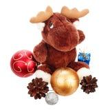 Bolas y pinecones hermosos de la Navidad Foto de archivo