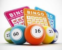 Bolas y tarjetas del bingo ilustración 3D