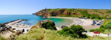 Bolata beach Bulgaria. Famous bay near Cape Kaliakra. Panoramic Stock Photography