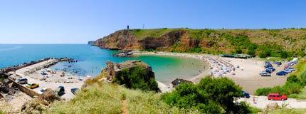 Bolata beach Bulgaria. Famous bay near Cape Kaliakra. Panoramic Stock Photos