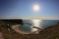 Bolata strand, nära udde Kaliakra, Bulgarien Arkivfoton