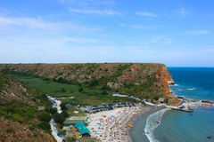 Bolata strand, nära udde Kaliakra, Bulgarien Arkivfoto