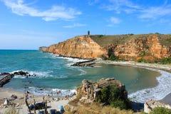 Bolata strand, nära udde Kaliakra, Bulgarien Royaltyfria Foton