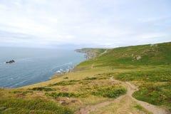 Bolberry vers le bas, sentier piéton côtier du sud de Devon, R-U Images libres de droits