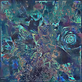 Bold abstract floral painted design in blue and green Royalty Free Stock Photography