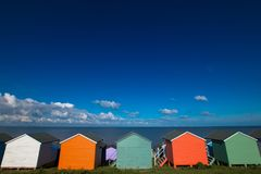 Bold Beach Huts royalty free stock images