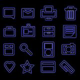 Bold Blue Glow Business Icons Royalty Free Stock Photo