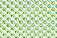 Bold blue and yellow paint swirls repeating on white, seamless t Royalty Free Stock Photography