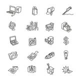 Bold Business and Industry Icons. Bold Business and Industry One Line Icons Stock Image