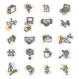 Bold Business One Line Icons. Bold icons with business themes Stock Photos