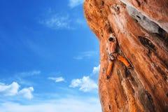 Bold choice - rock climbing stock photo