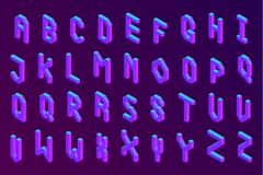 Bold colorful isometric pixel 3d font. Modern bright uppercase geometric alphabet letters set. stock vector illustration clipart stock illustration