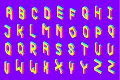 Bold colorful isometric pixel 3d font. Modern bright uppercase geometric alphabet letters set. stock vector illustration clipart vector illustration