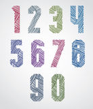 Bold condensed poster style numbers with hand drawn lines patter Royalty Free Stock Image