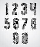 Bold condensed poster style numbers with hand drawn lines patter Stock Photography
