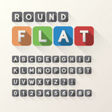 Bold Flat Font and Numbers in Rounded Square. Eps 10 Vector, Editable for any Background, No Clipping Mask Stock Photo