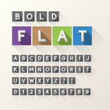 Bold Flat Font and Numbers in Square Royalty Free Stock Image