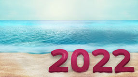 2022 bold font beach background 3d render Royalty Free Stock Image