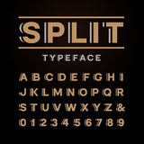 Bold font. Vector alphabet with split effect letters and numbers Stock Photo