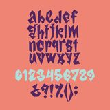 Bold geometric playful font. In corral, violet and blue colors stock illustration