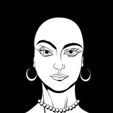 Bold girl avatar. Bold gir avatar drawing in black and white Royalty Free Stock Photos