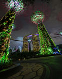 Bold Green Lights from the Towers of Gardens by the Bay in Singa Royalty Free Stock Photos