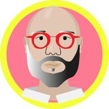 Bold guy in red glasses modern design vector illustration