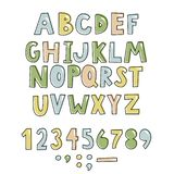 Bold handwritten childish font. Simple colorful letters for decoration. Kids design. Simple colorful letters for decoration. Kids design. Bold handwritten royalty free illustration