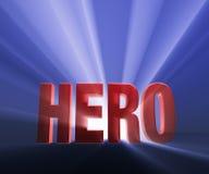 Bold Hero. Shiny red HERO on dark blue background brilliantly backlit with light rays shining through Vector Illustration