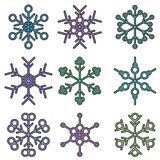 Bold isolated snowflake designs Stock Image