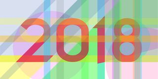 2018-bold lettering of different colors. With the overlay effect in the form of a greeting card on new year vector illustration