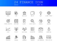 Line icons set. SEO pack. Bold Line icons set. Finance pack. Vector illustration Stock Photos