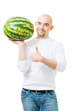 Bold man with watermelon. Positive bold man in white with watermelon and thumb up,isolated stock photos