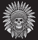 Bold Native American Skull Chief Vector vector illustration