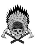Bold Native American Skull Chief Vector Royalty Free Stock Photography