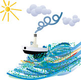 Bold navigator. In the open sea Royalty Free Stock Photography